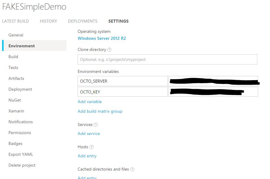 AppVeyor environment settings